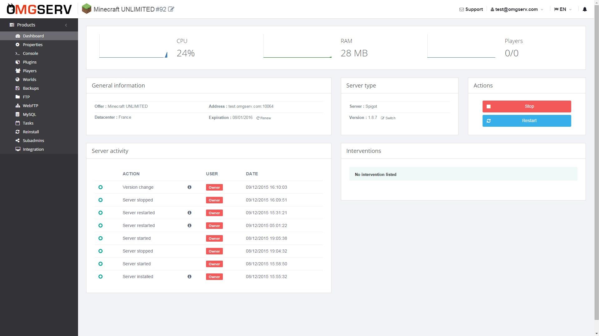 Free Minecraft Server Hosting - OMGSERV